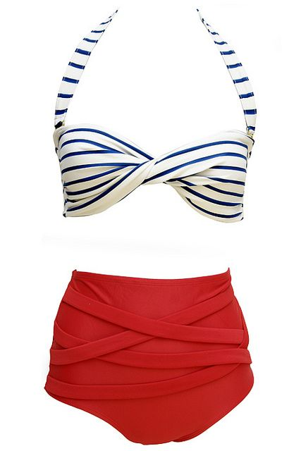 Retro styled bathing suit - blue & white striped top with high waisted red bottoms from Soak Swimwear