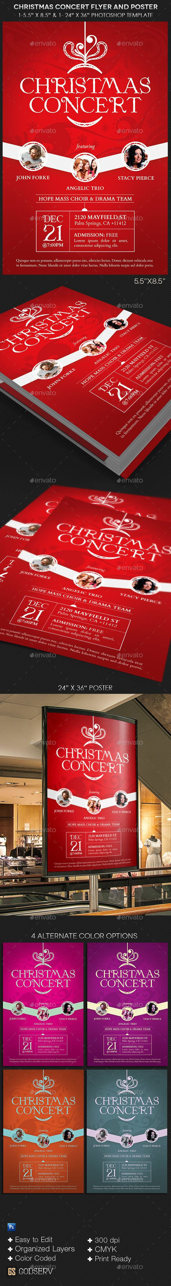 Christmas Concert Flyer Poster Template — Photoshop PSD #sermon #white • Available here → https://graphicriver.net/item/christmas-concert-flyer-poster-template/13526923?ref=pxcr
