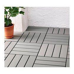 An alternative to decking, polypropylene plastic - grey - IKEA £15 per pack of 9- cheap!
