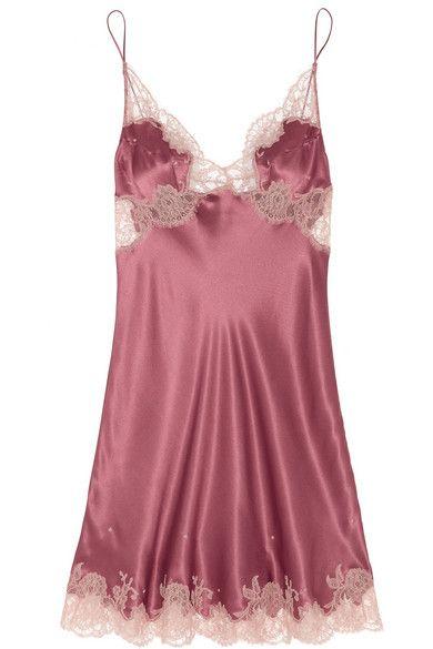 CARINE GILSON Lace-trimmed silk-satin mousseliné chemise