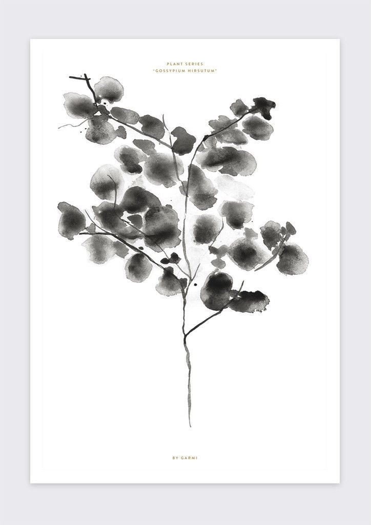 COTTON PLANT // Botanic print, Green Interior