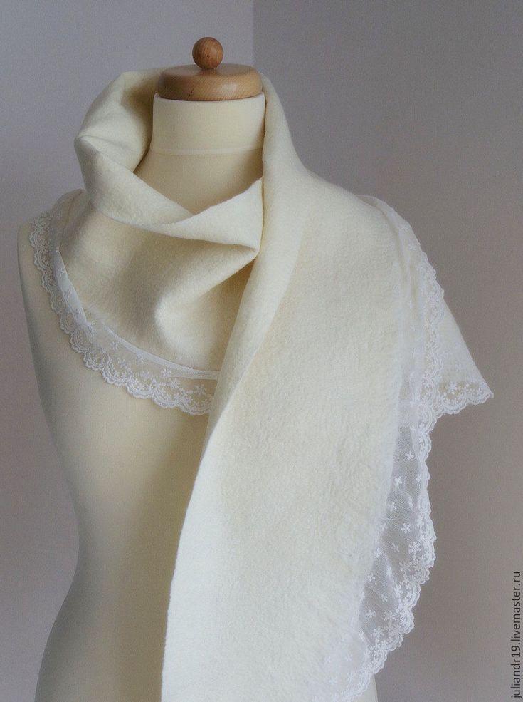 Купить Кружевной шарф. Нежный молочно-белый шерстяной шарф с кружевом - белый, молочно-белый
