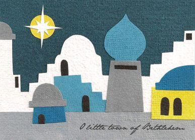 Little Town of Bethlehem Handmade Christmas Card