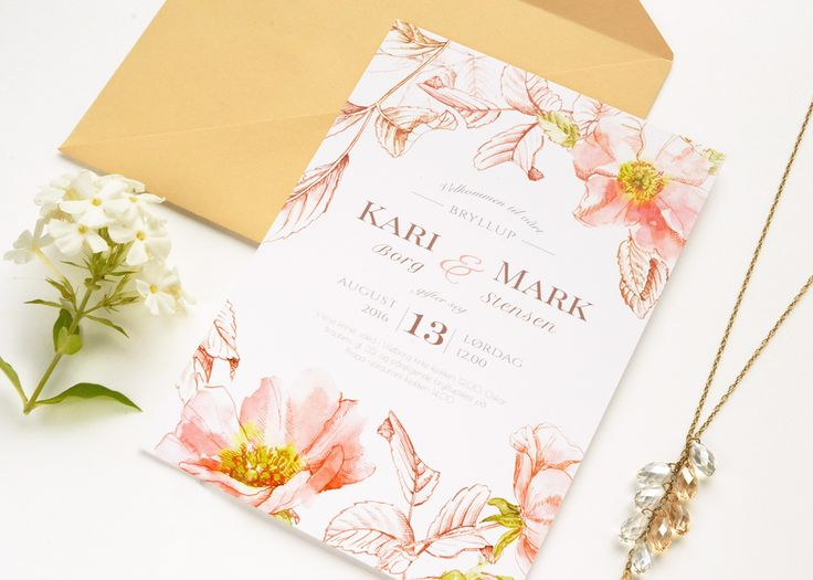 """Printed wedding invitation suite """"Briar"""" in peach colour. Personalised wedding design based on watercolor painting and ink hand-drawing"""