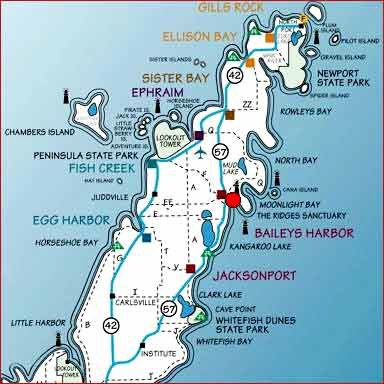 Door County, WI. Bailey's Harbor (halfway up the map on the lake side) is where we went for our honeymoon.  ~hjm