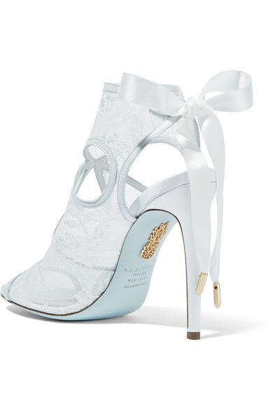 Aquazzura - Sexy Thing Leather-trimmed Cutout Lace Sandals - White - IT35.5