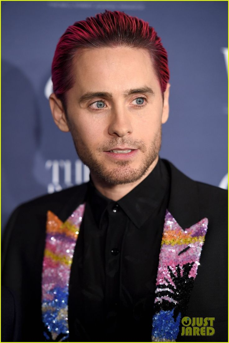 Jared Leto Slicks Back Pink Hair & wears a pop of color on his blazer at the 2015 WSJ Magazine Innovator Awards held at the Museum of Modern Art in New York City Wednesday Night (November 4, 2015)