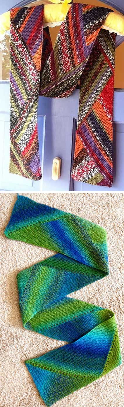 Free Knitting Pattern for Reversible Multidirectional Diagonal Scarf - Knit in garter stitch and short rows that shape the triangles this is perfect for showcasing variegated or sock yarns. Designed by Karen Baumer. Pictured projects byGodzilla and iknit4joy