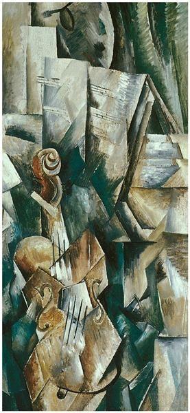 Georges Braque, Violí i paleta. 1909. Oli sobre tela, 91 x 42,8 cm. Nova York: Solomon R. Guggenheim Museum.