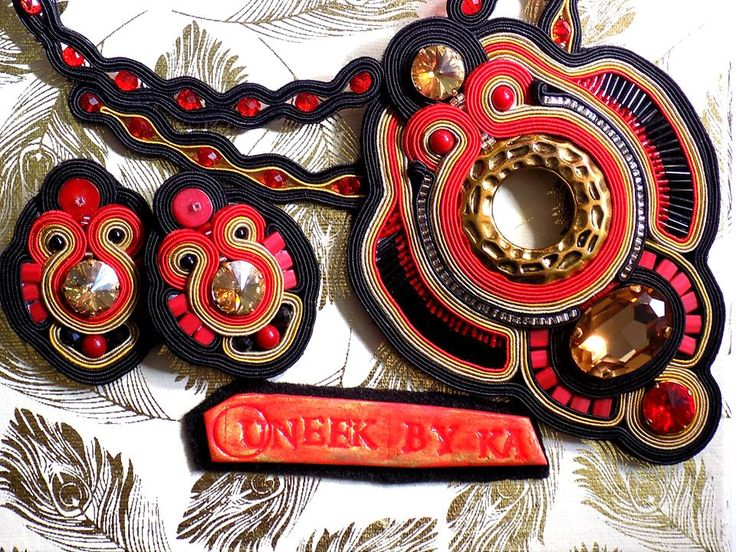 Soutache Necklace and Earring - Gold/Black/red/Swarovski crystals/beads