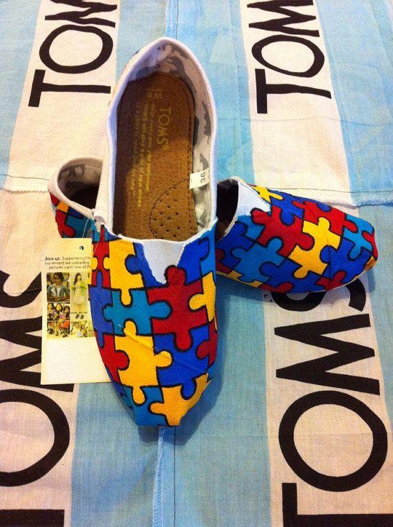 Custom Hand Painted Autism Toms by BekasBargains on Etsy, $120.00