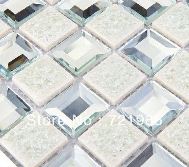 Mirror Gl Mosaic Kitchen Backsplash Tile Mgmt016 Crystal White Bathroom Tiles Porcelain Mosaics 299 17 Pinterest