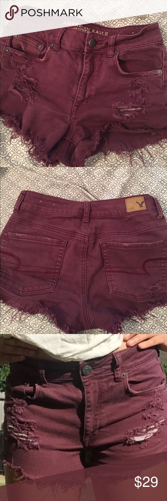 American eagle distressed maroon shorts Size 2! Super cute and comfy maroon shorts. Also great for summer ! American Eagle Outfitters Shorts