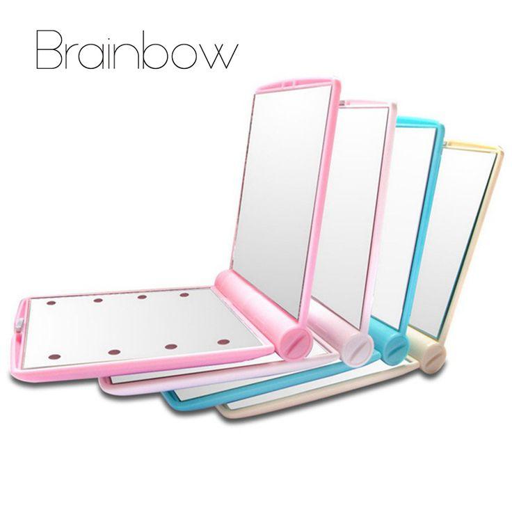 Brainbow Specchio Per Il Trucco 8 Luci LED Lampade Pieghevole Cosmetico Tasca Portatile Compatto Mano Specchio Specchio da Trucco Sotto Le Luci con Bettery