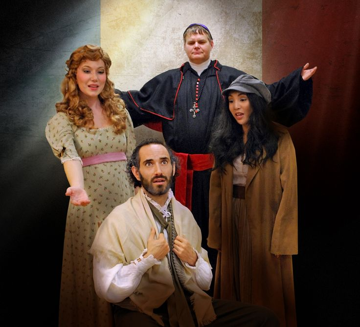 "TVRT ""Les Mis"" cast from left to right: Fantine: Morgan Breedveld, Jean Valjean: Mischa Stephens, Bishop: Robert Sholty, Eponine: Katherine DelaCruz. For tickets: http://tickets.livermoreperformingarts.org/single/PSDetail.aspx?psn=3912"
