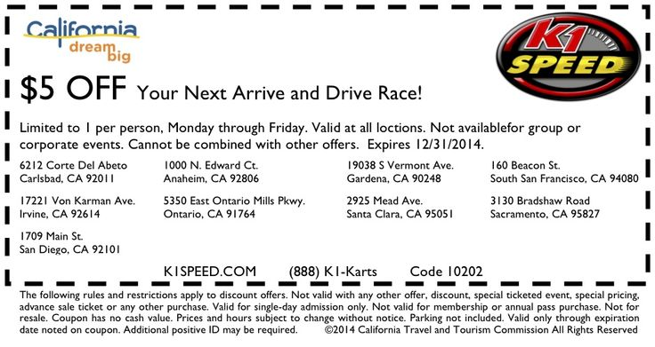 K1 Speed Coupons. Last Update: December 05, K1 Speed is the premier indoor go kart racing company in California, Washington State, Florida, Arizona, Texas, Illinois and Indiana with locations serving Santa Clara, San Diego, Carlsbad, Torrance, Ontario, Irvine, Anaheim, Los Angeles, the Inland Empire, San Francisco, Sacramento, Seattle.