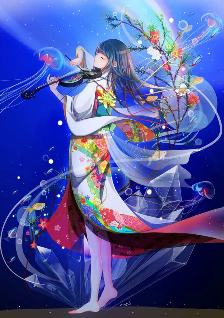 Tags anime girls kimono long hair Japanese clothes