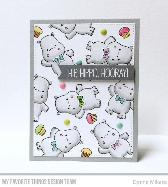 Happy Hippos Stamp Set, Essential Fishtail Sentiment Strips Die-namics - Donna Mikasa  #mftstamps