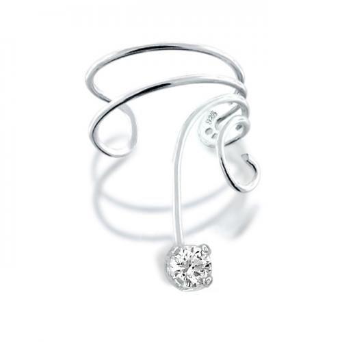 925 Sterling Silver Wave Cubic Zirconia Swirl Ear Cuff Right Ear
