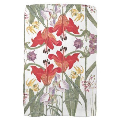 Red Lily Flowers Garden Kitchen Towel - diy cyo personalize design idea new special custom