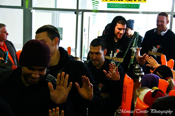 The 2013 NBL Champions Southland Sharks arriving to a hero's welcome at Invercargill Airport this morning. July 15, 2013.