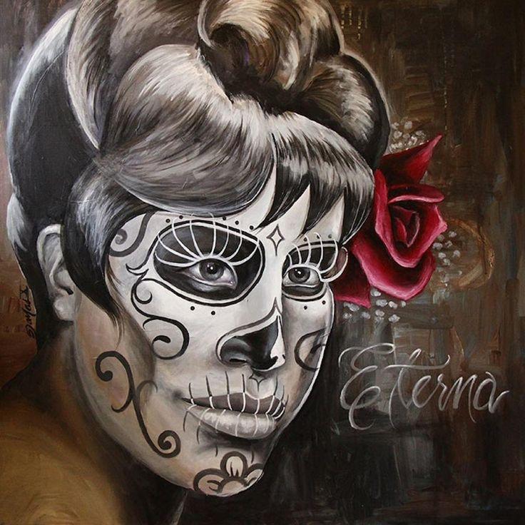 Eterna by Pablo Damas Mexican Death Mask Woman Tattoo Canvas Art Print