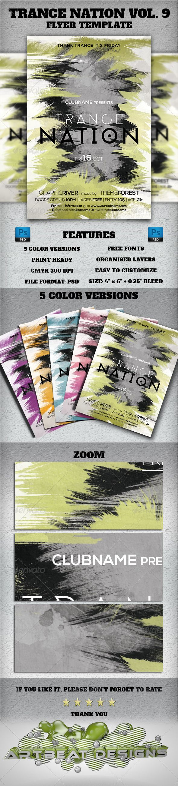 "Trance Nation Vol. 9 Flyer Template  #GraphicRiver        Trance Nation Vol. 9 Flyer Template  	 Everything in the PSD file is well organized and grouped. You can easily change the text and fonts.  Feauters     Color profile: CMYK 300 DPI   Print Ready!  Print dimension 4"" x 6"" with 0.25"" bleed    Color versions: (5 colors)  	 Choose one of the pre-made background colors. Available in: Blue, Green, Purple, Orange and Pink  Fonts:    Phantom: Download Nexa Light & Nexa Bold: Download  Social…"