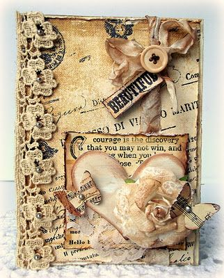 Inked & Distressed Vintage Card...with lace & pearls.