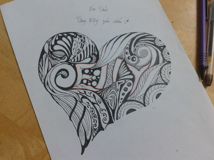 My doodle art draw to gift for my friend her name elly for Love doodles to draw