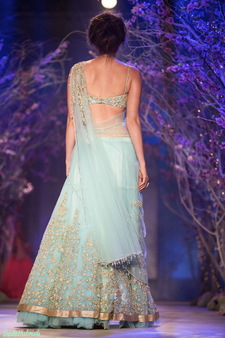 Sky blue light lehenga Jyotsna Tiwari India Bridal Fashion Week 2014