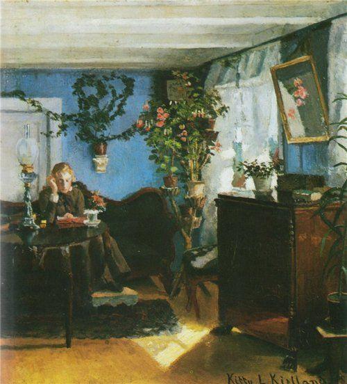 Blått interiør / Blue interior, Kitty Kielland. Norwegian Realist Painter (1843 - 1914)