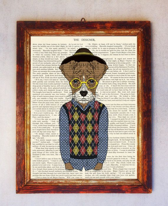 Male Dog Art Print Dog with Glasses Print Dog Wall Art Book