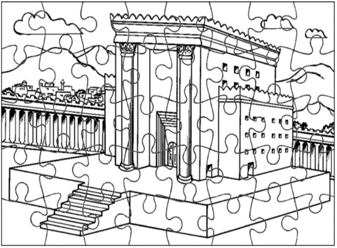 Solomon's Temple Jigsaw Puzzle. This puzzle page will help you prepare your Sunday school lesson on 1 Kings 6:1-8:66 on the Bible story of Solomon builds the temple.