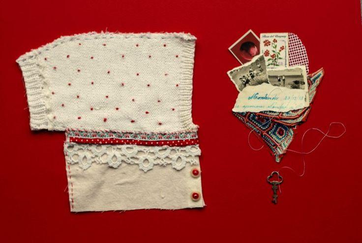 Collage textil. Rojo llave. Alejandra Correa www.ale-correa.com