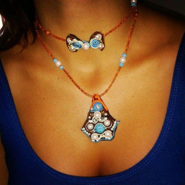 Collar #soutache #naranja. Necklace Soutache Venezuela
