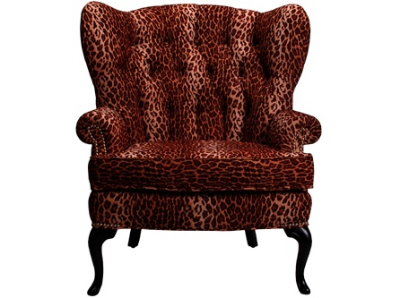 Marlene Lounge Chair Elegant Tufted Wingback In Leopard Print Fabric W Nickel Nail
