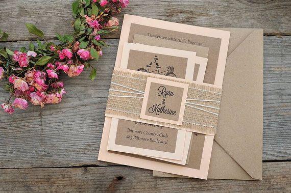 Custom Wedding Invitation Kits Bicycle by MelindaWeddingDesign