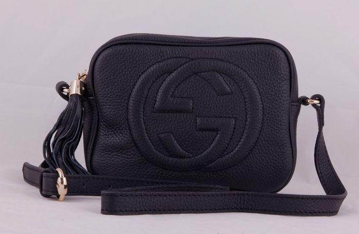 Небольшая кожаная сумочка Gucci на наплечном ремне. Черный цвет кожи, золотистая фурнитура. Размер 22x16x8cm #19759