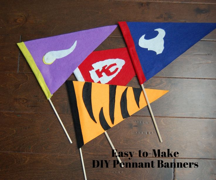 Add a craft to your football party! Make these DIY pennant flags during the game to give kids and guests a fun activity that doubles as a party favor! Get the play-by-play on our blog now.