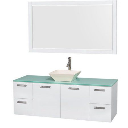 Wyndham Collection Amare 60 inch Single Bathroom Vanity, Glossy White, Green Glass Countertop, Altair Black Granite Sink, and 58 inch Mirror
