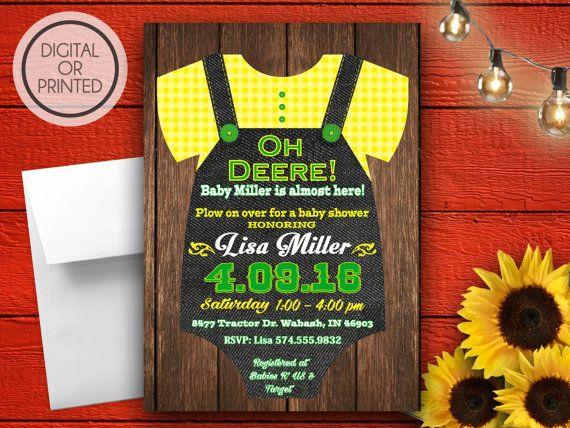 Onesie Invitation Tractor Baby Shower Onesie by GreatOwlCreations