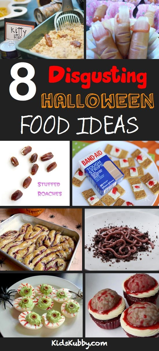 starting to plan our annual halloween dinner...Really gross Halloween food ideas. Must try the band-aids... Made the kitty litter cake once. It's wonderfully creepy but yummy at the same time!