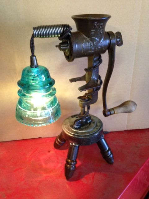 Vintage Meat Grinder Lamp with Glass Insulator! Industrial chic for your home.