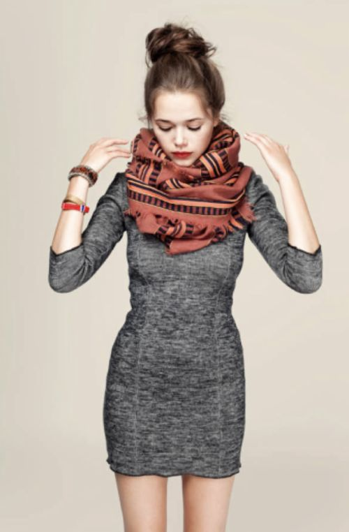 gray dress: Big Scarfs, Style, Sweaters Dresses, Big Scarves, Fall Outfits, Tights Dresses, The Dresses, Grey Dresses, Gray Dresses