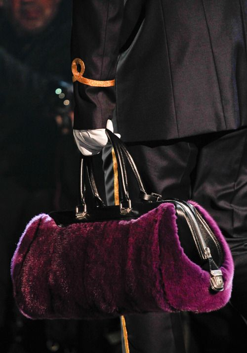 Louis Vuitton Fall 2012 jewel tone purple fur handbag