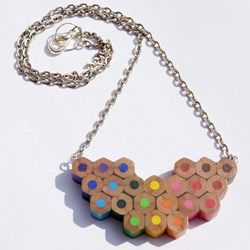 Finally...a creative and stylish way to reuse the ends of used up pencils. This upcycled colour spectrum necklace has been handmade and given a new lease of life!