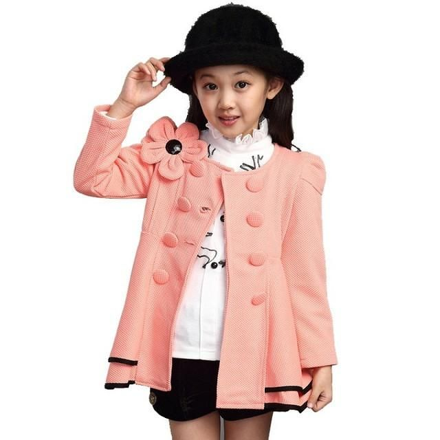 girls jacket children's clothing big kids spring & autumn child medium-long 2016 double breasted baby outerwear girl trench coat