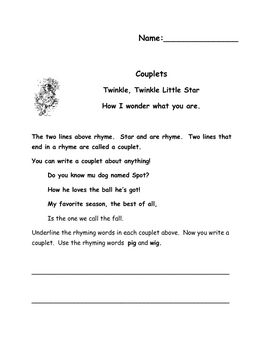 couplet template Lesson 96: poetry: couplets a couplet is a simple rhyming poem consisting of only two lines, or of multiple rhyming stanzas consisting of two lines each.