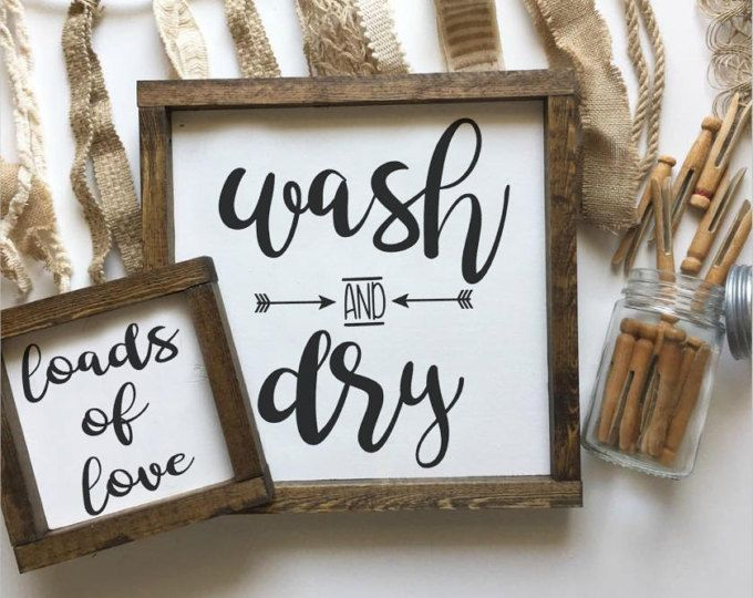Laundry Room Sign, Wash & Dry, Wood Sign, Farmhouse Decor, Laundry Decor, Wood Framed Sign, Rustic Decor