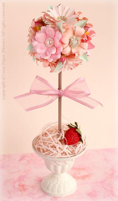 5 Days Art Challenge・3日目 〜ペーパーフラワートピアリー&お花紙の花〜 の画像|Paper Flowers(ペーパーフラワー, 紙の花)